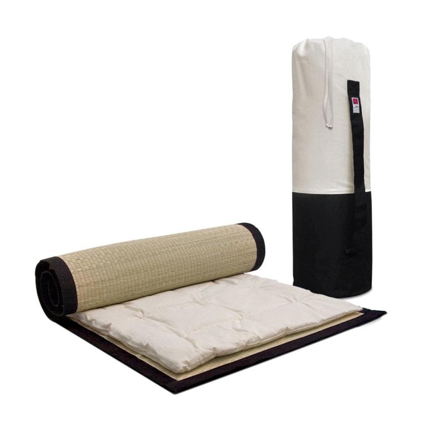 Futon Massagens Conjunto Preto Cru 01