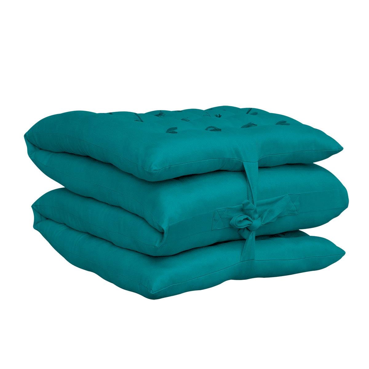 Puff decorativo Mil Folhas Tecido Sarja Peletizada Azul Tiffany