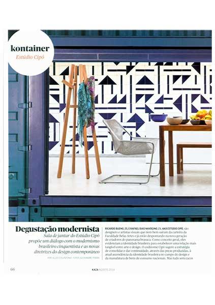 Poltrona Paulistano capa malha de aço na revista Kaza de Janeiro de 2014