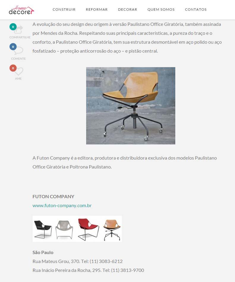 poltrona Paulistano no site Home Decore do mês de Julho de 2015