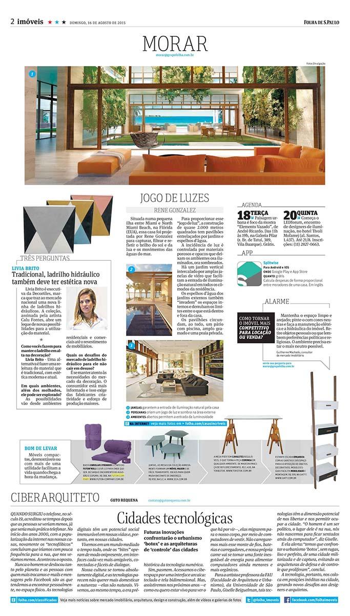 futon de enrolar no jornal Folha de São Paulo