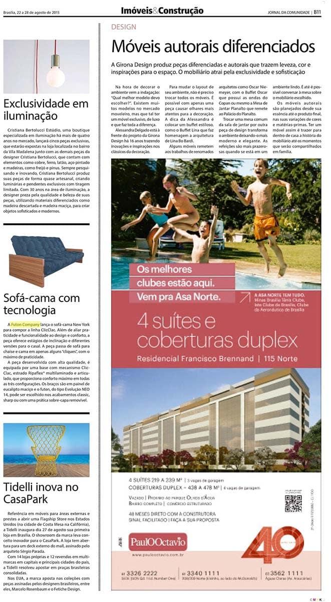 sofá-cama com tecnologia no jornal da comunidade de agosto de 2015