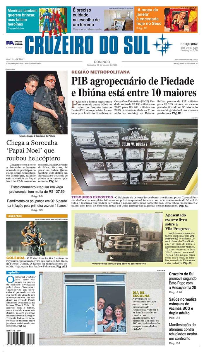 Jornal Cruzeiro do Sul 10 Janeiro 2016 01