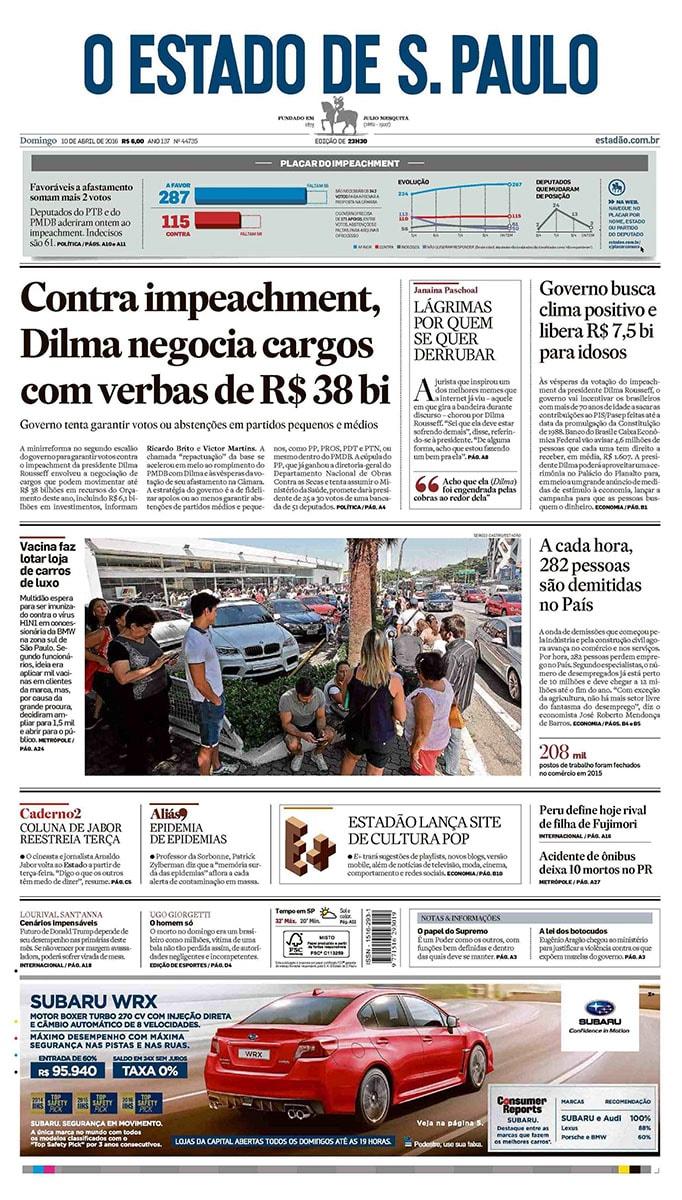 Jornal O Estado de Sao Paulo 10 abril 2016 01