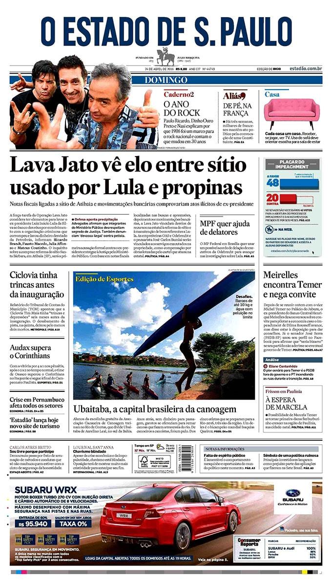 Jornal O Estado de S Paulo 24 Abril 2016 01