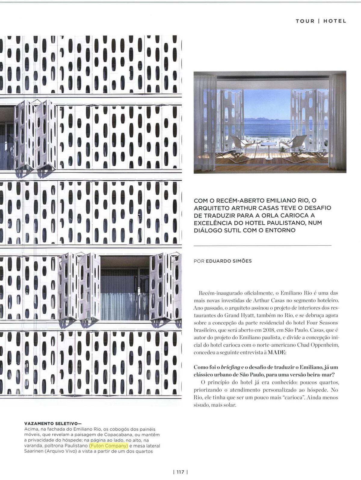 Poltronas Paulistano brancas (com capa de Sunbrella®), nas suites do hotel Emiliano no Rio (projeto Arthur Casa