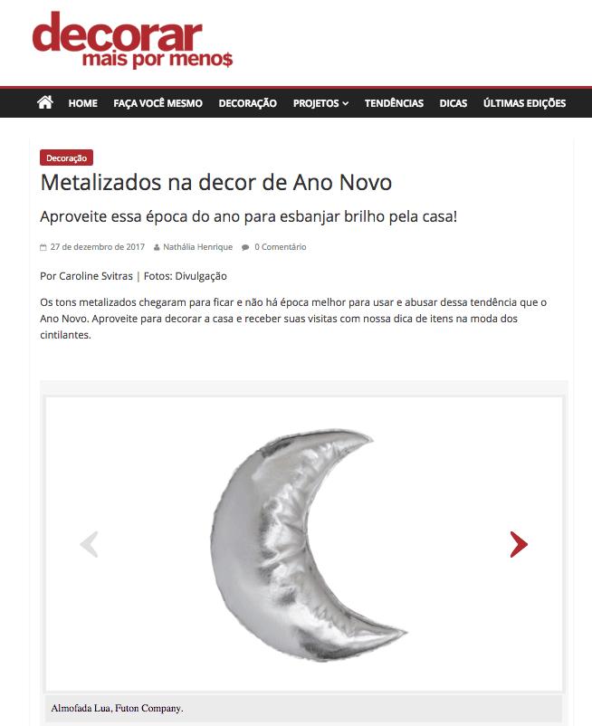 Almofada Lua Prata brilhante - Revista Decorar Mais por Menos - dez 2017