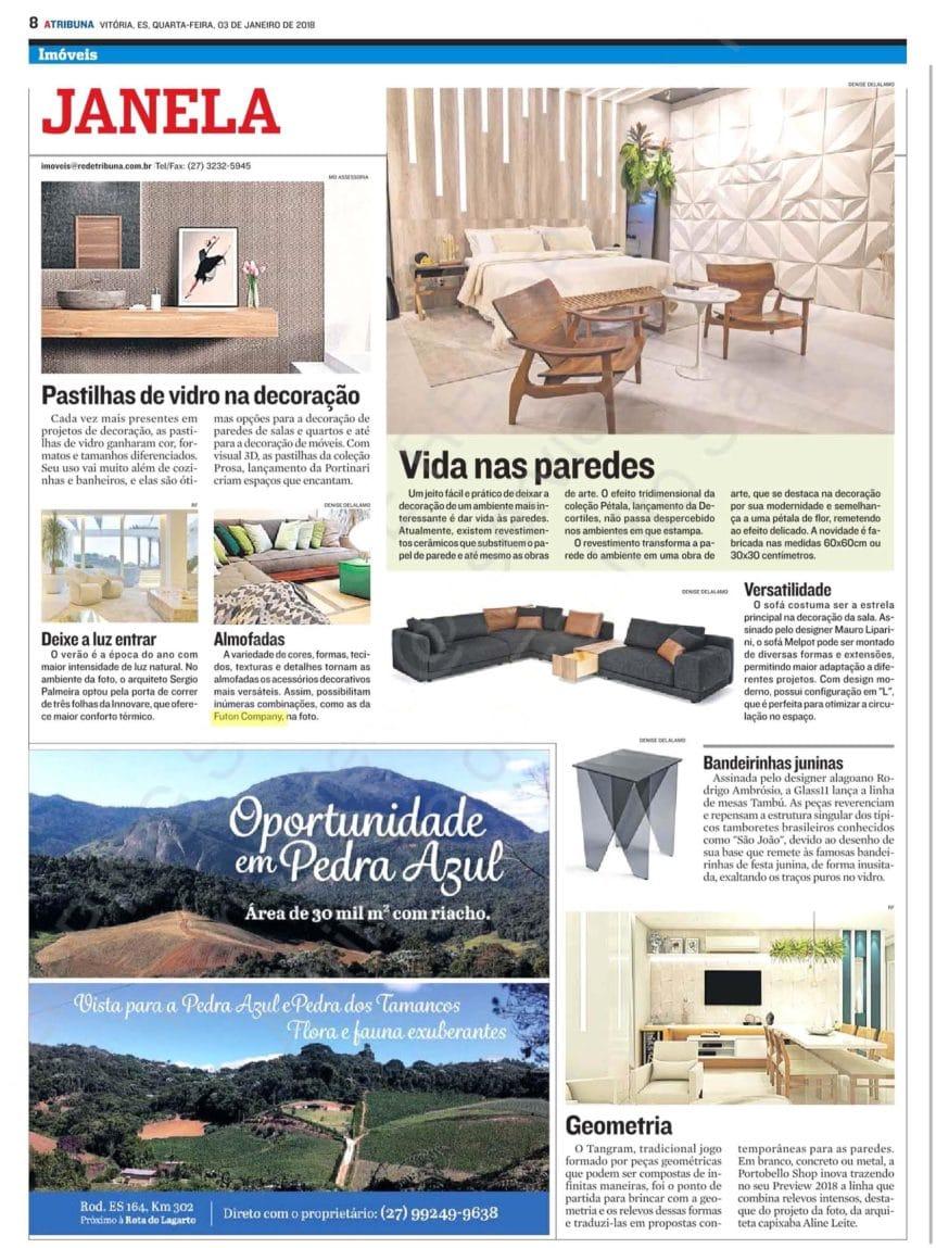 Linhas de Almofadas Futon Company - Jornal a Tribuna - Janeiro 2018