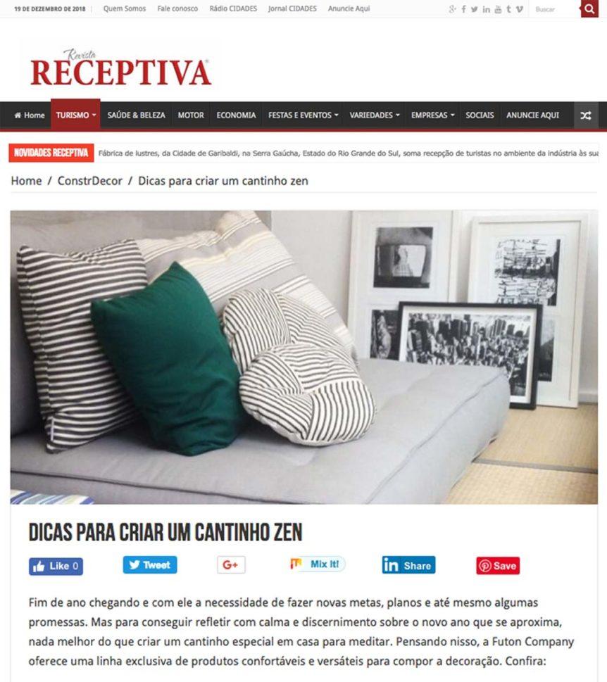 Clipping Revista Receptiva Cantinho Zen Dez 2018