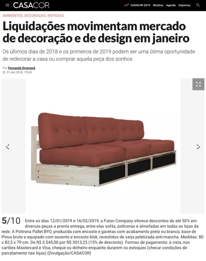 Clipping CasaCor Liquidação jan 2019