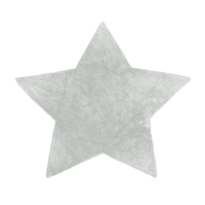 Tapete Floco Estrela 128x135 Tecido Algodão Liso Cinza Claro