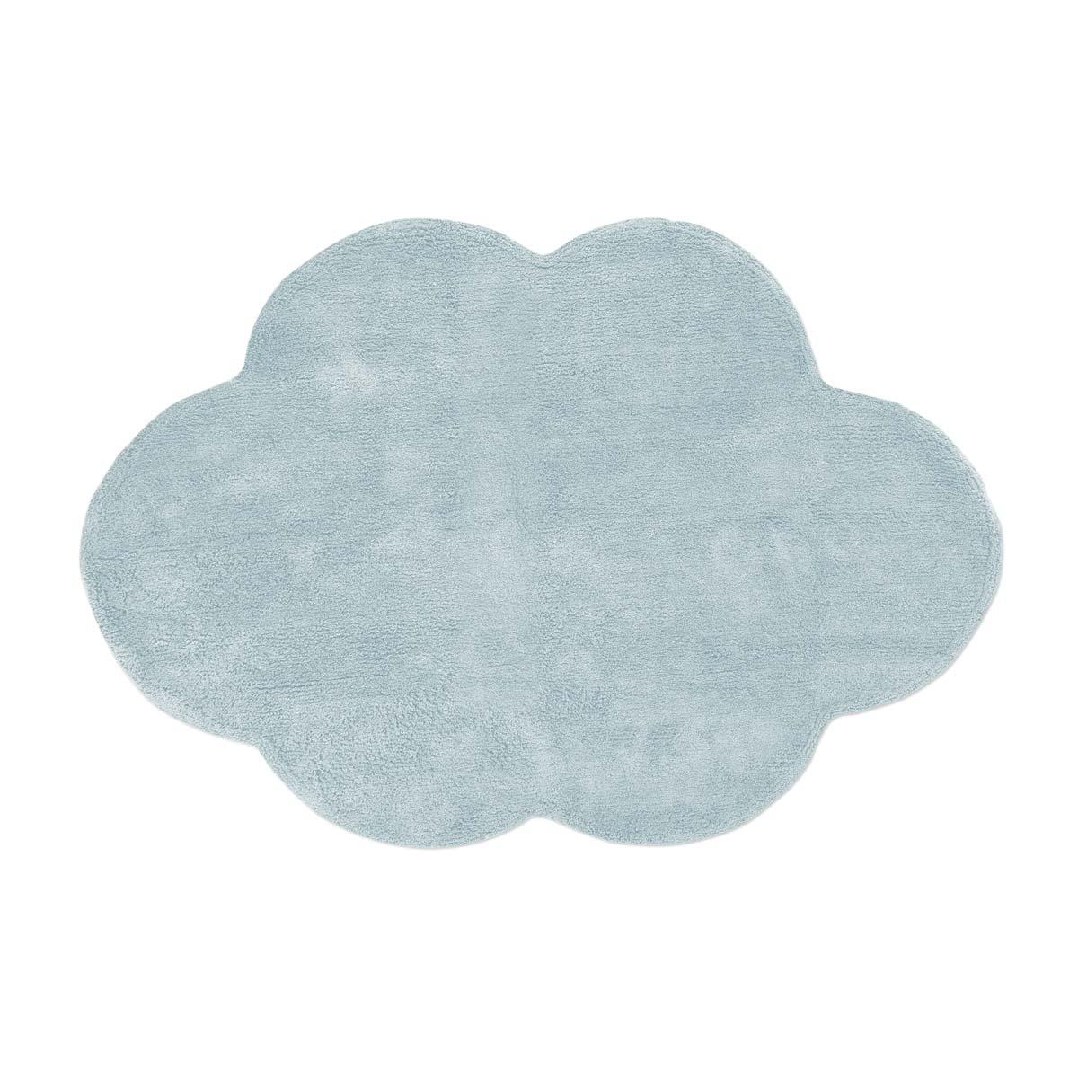 Tapete Floco Nuvem 120x160 Tecido Algodão Liso Azul Claro