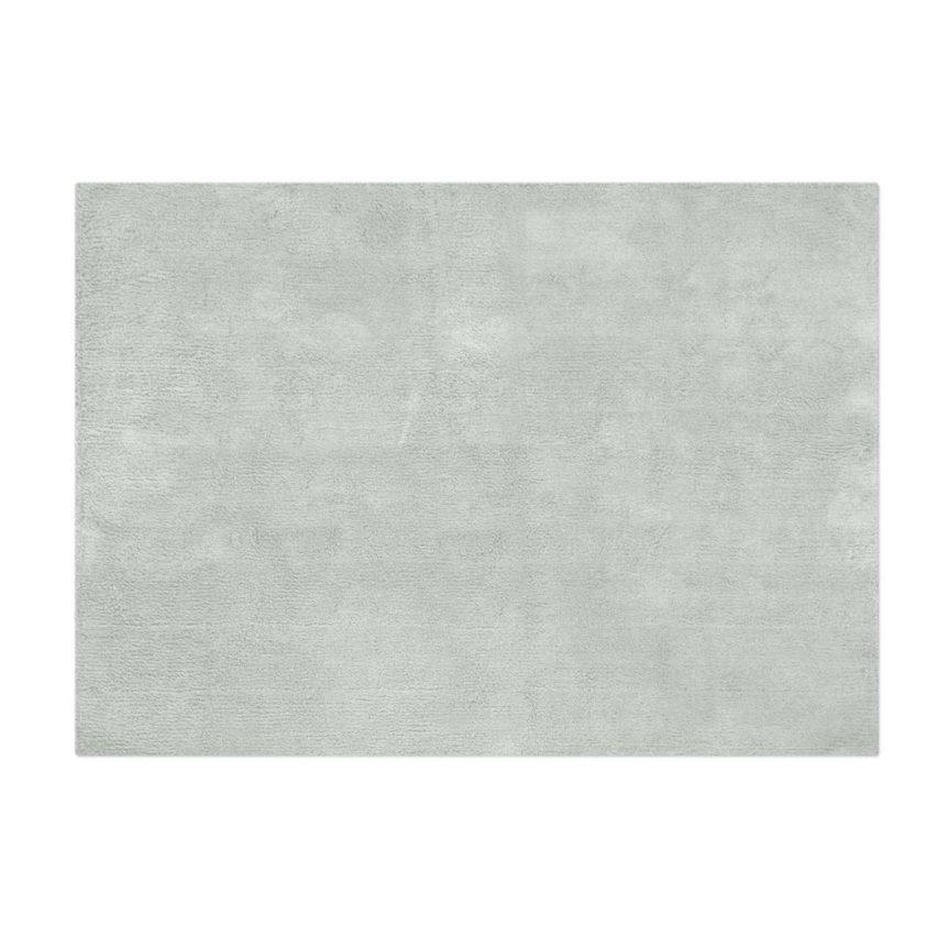 Tapete Floco Retangular 120x160 Tecido Algodão Liso Cinza Claro