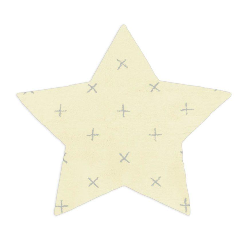 Tapete Floco Estrela 128x135 Tecido Algodão Cruzeta Amarelo
