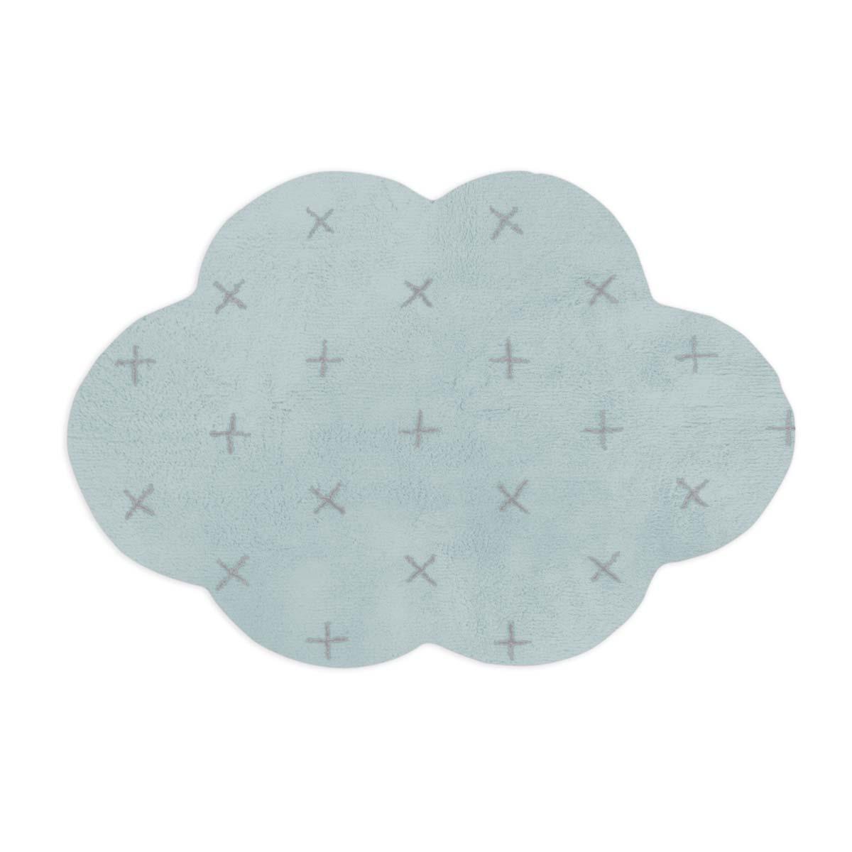 Tapete Floco Nuvem 120x160 Tecido Algodão Cruzeta Azul Claro