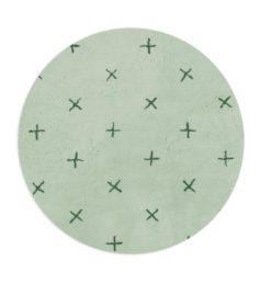 Tapete Floco Redondo 120x120 Tecido Algodão Cruzeta Verde