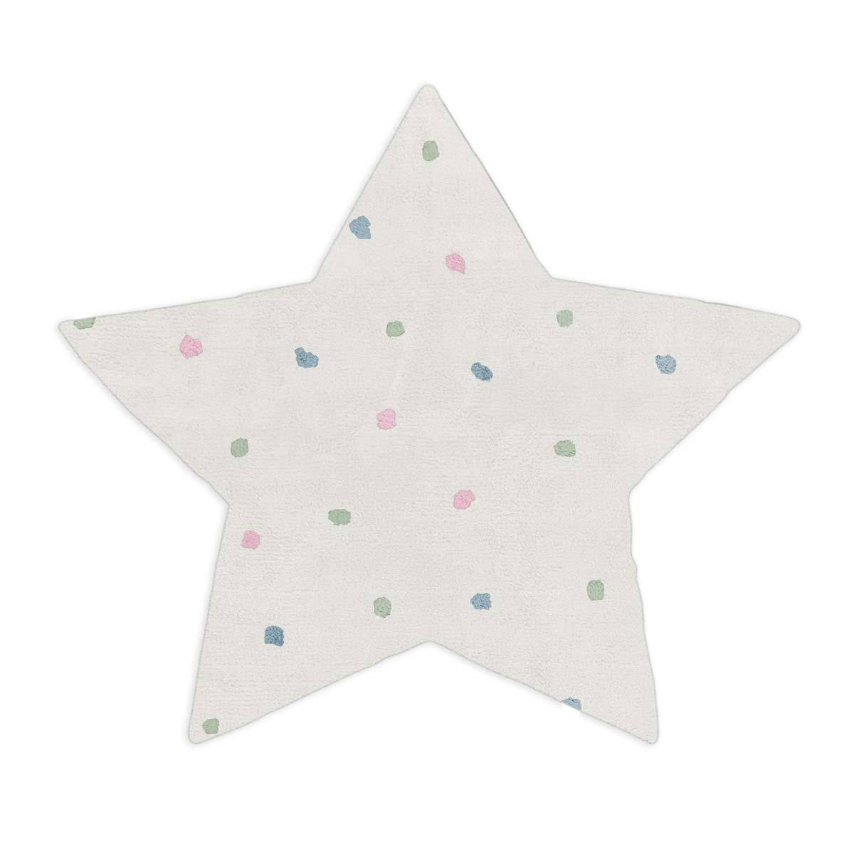 Tapete Floco Estrela 128x135 Tecido Algodão Confete Cru
