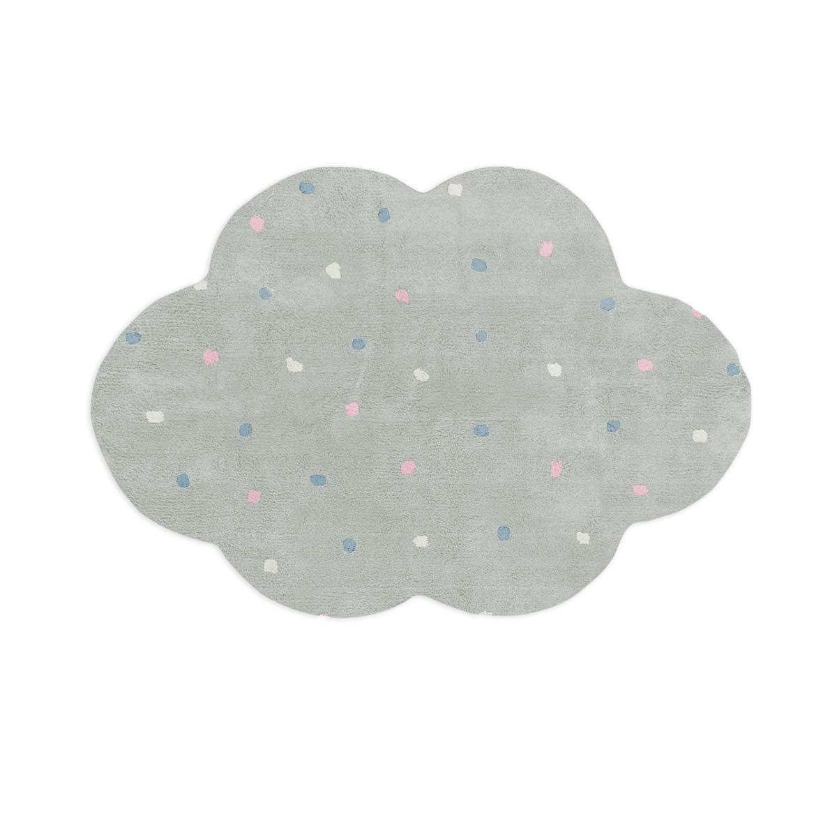 Tapete Floco Nuvem 120x160 Tecido Algodão Confete Cinza Claro