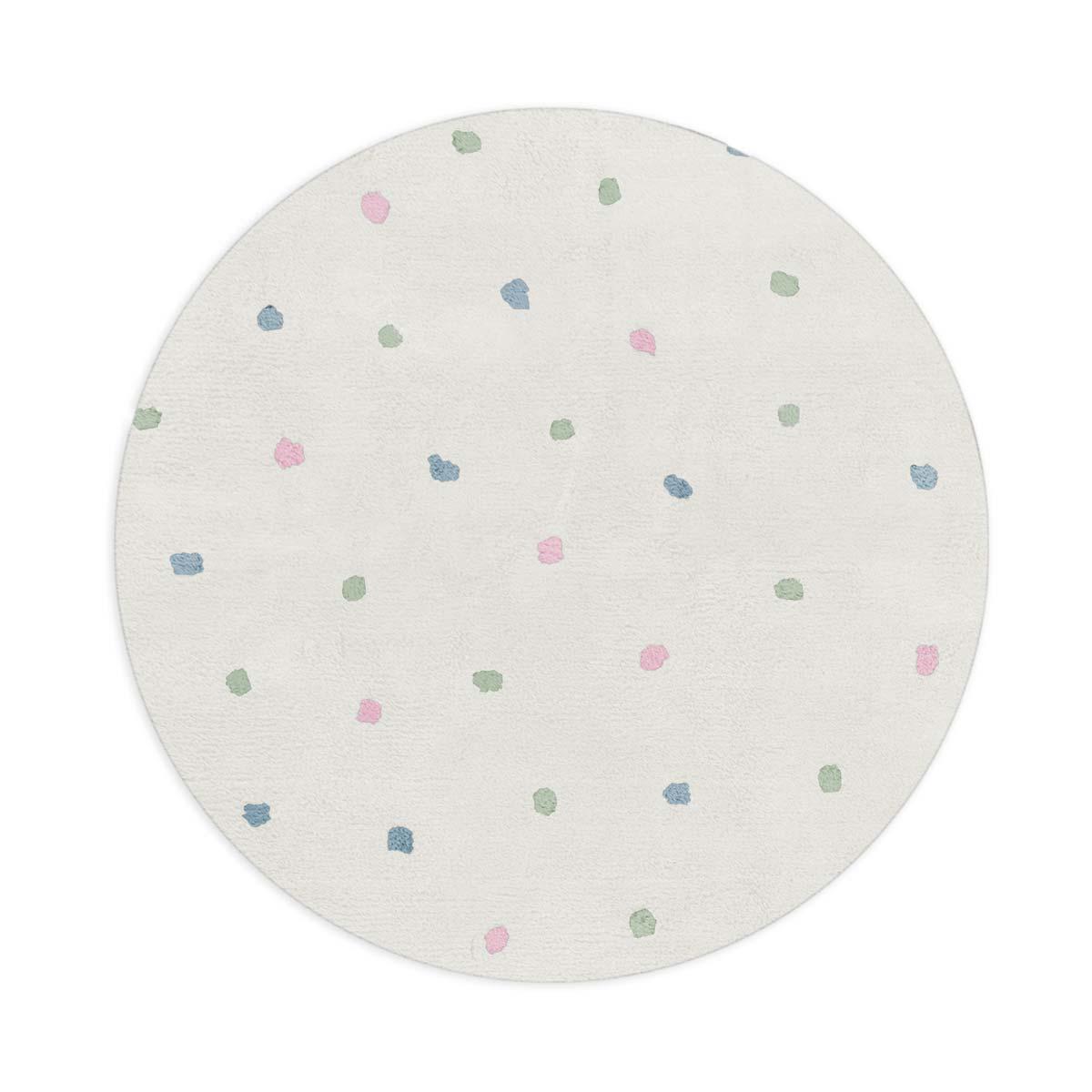 Tapete Floco Redondo 120x120 Tecido Algodão Confete Cru