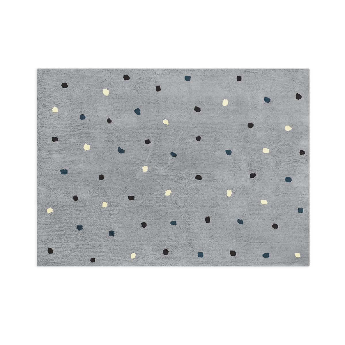 Tapete Floco Retangular 120x160 Tecido Algodão Confete Cinza Escuro