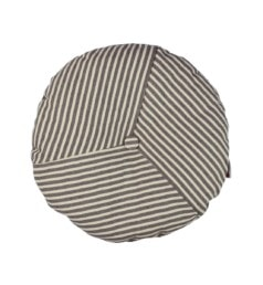 Almofada redonda listrada Poá Tecido Ecolona Provence Marinheiro Cinza Cru 01