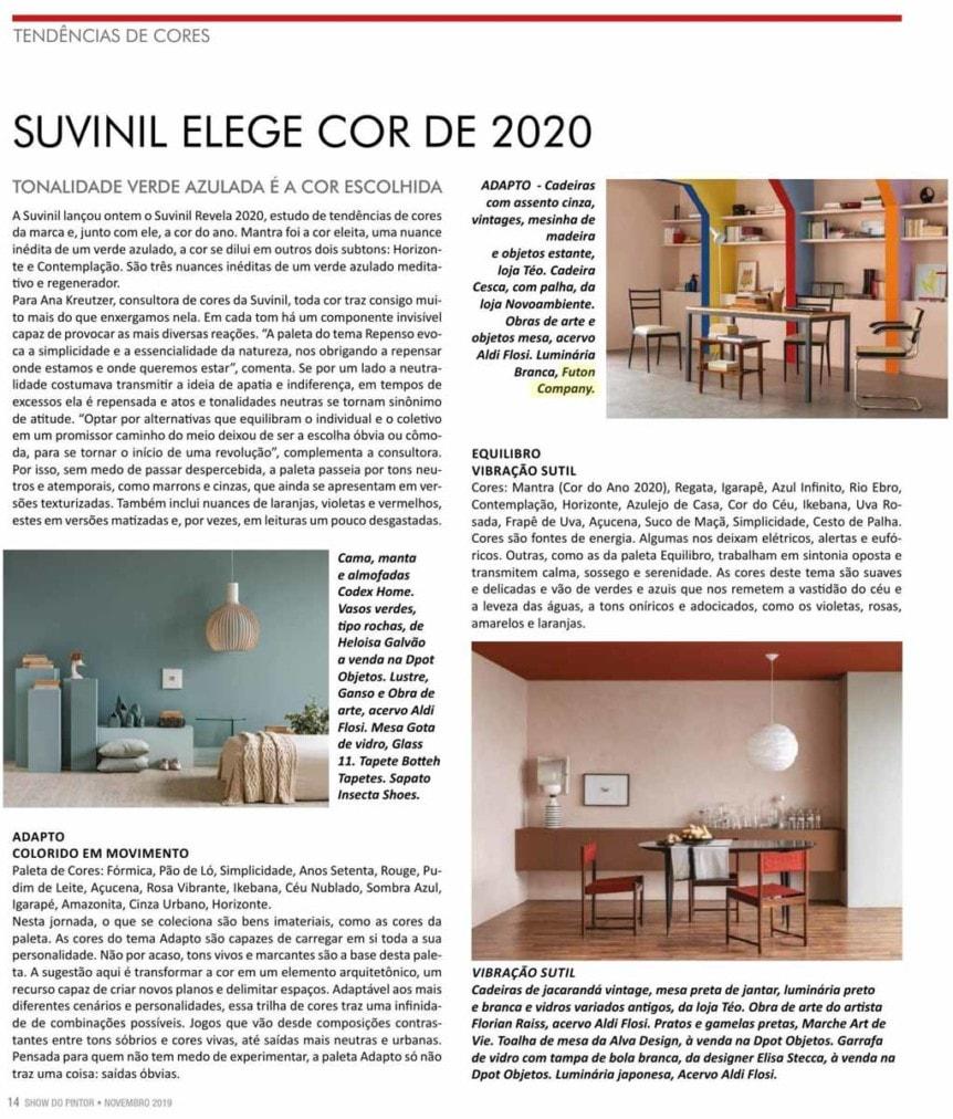 luminaria Arke em ambiente de escritorio Clipping Revista Show do Pintor nov 2019
