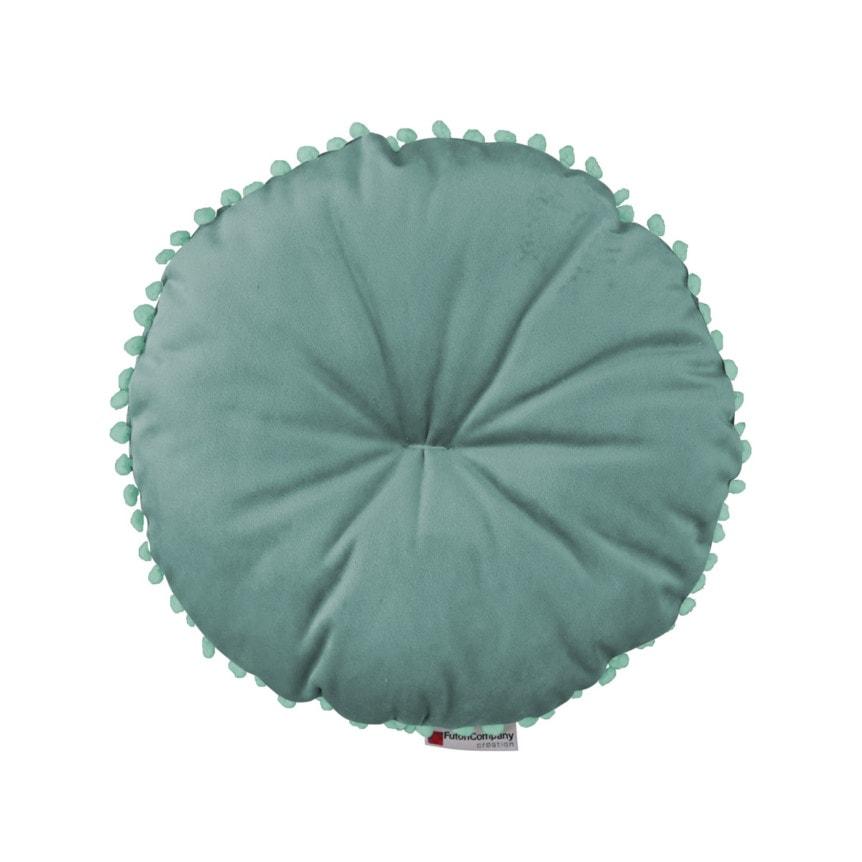 almofada de veludo redonda Poa Guizo Aqua 01