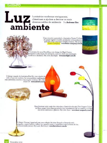Luminárias Papier Revista do Tatuapé - Dezembro 2011 Foto 1